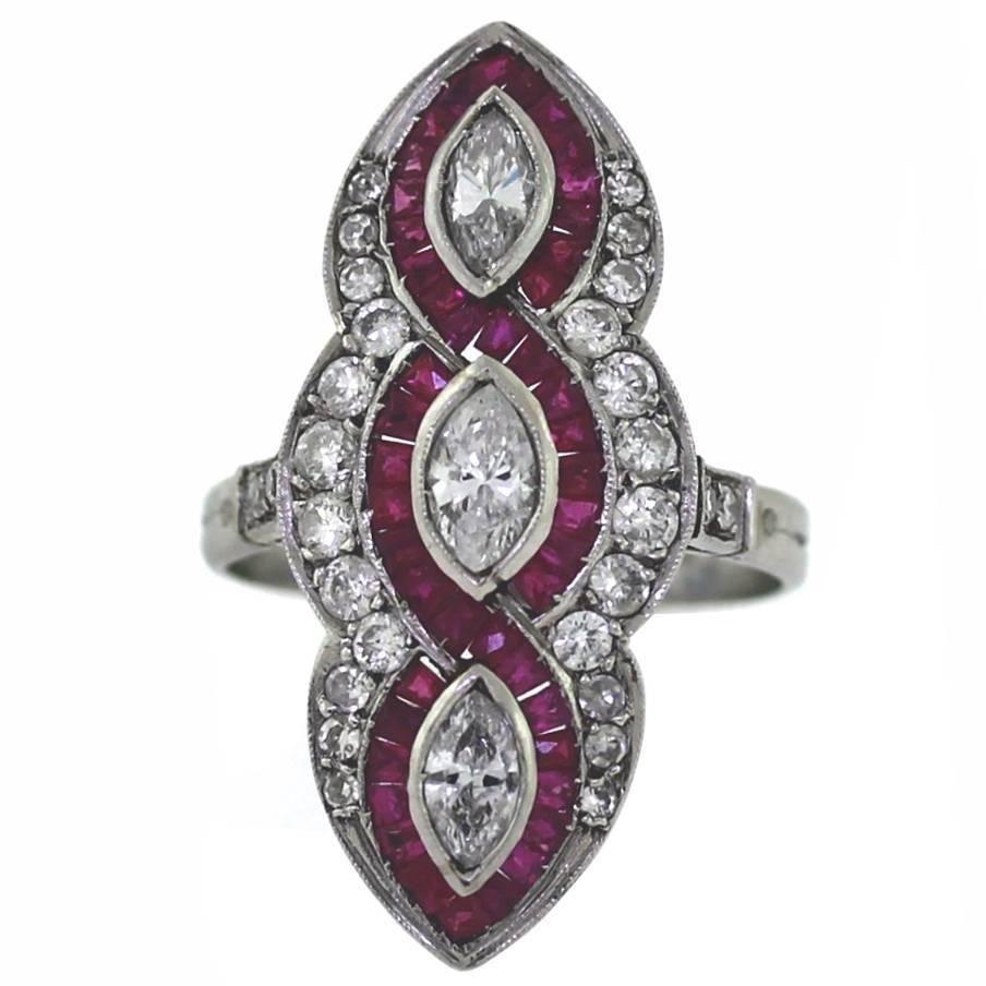Elongated ruby diamond platinum ring beautiful jewellery