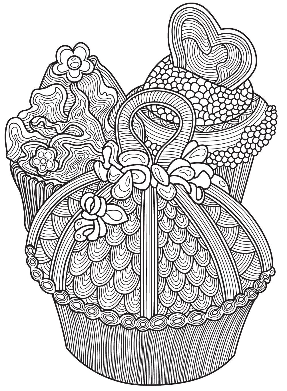 Cupcake Zentangle Coloring Pages