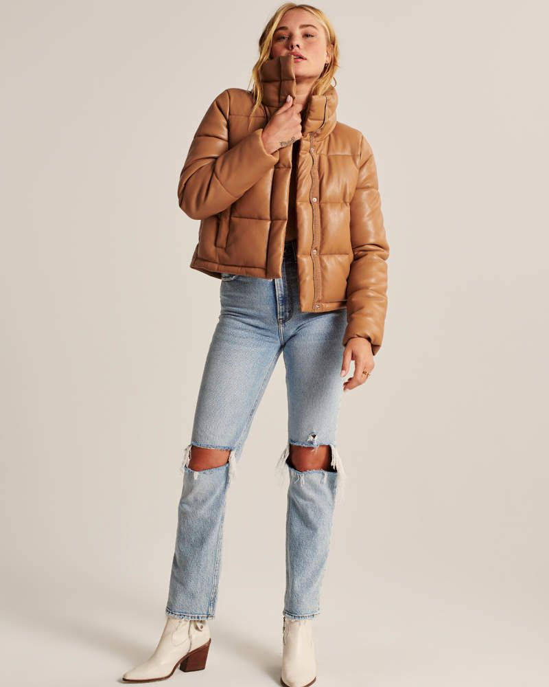 Women S Vegan Leather Mini Puffer Women S Coats Jackets Abercrombie Com In 2020 Women S Coats Jackets Vegan Leather Womens Sherpa