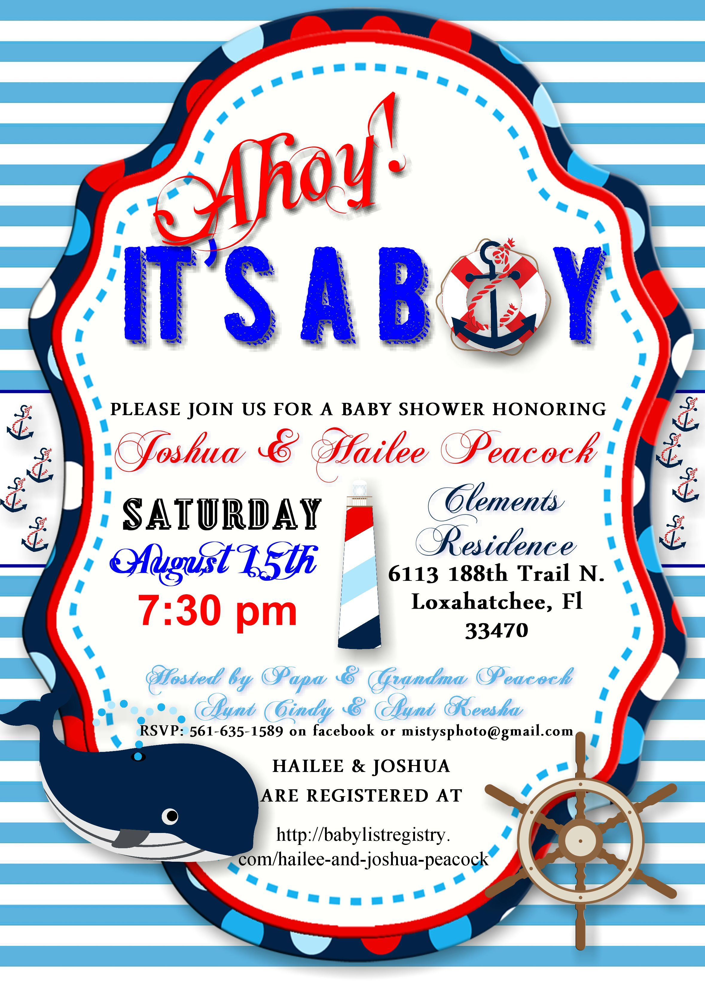 Ahoy It\'s A Boy! Nautical baby shower invitation designed by ...