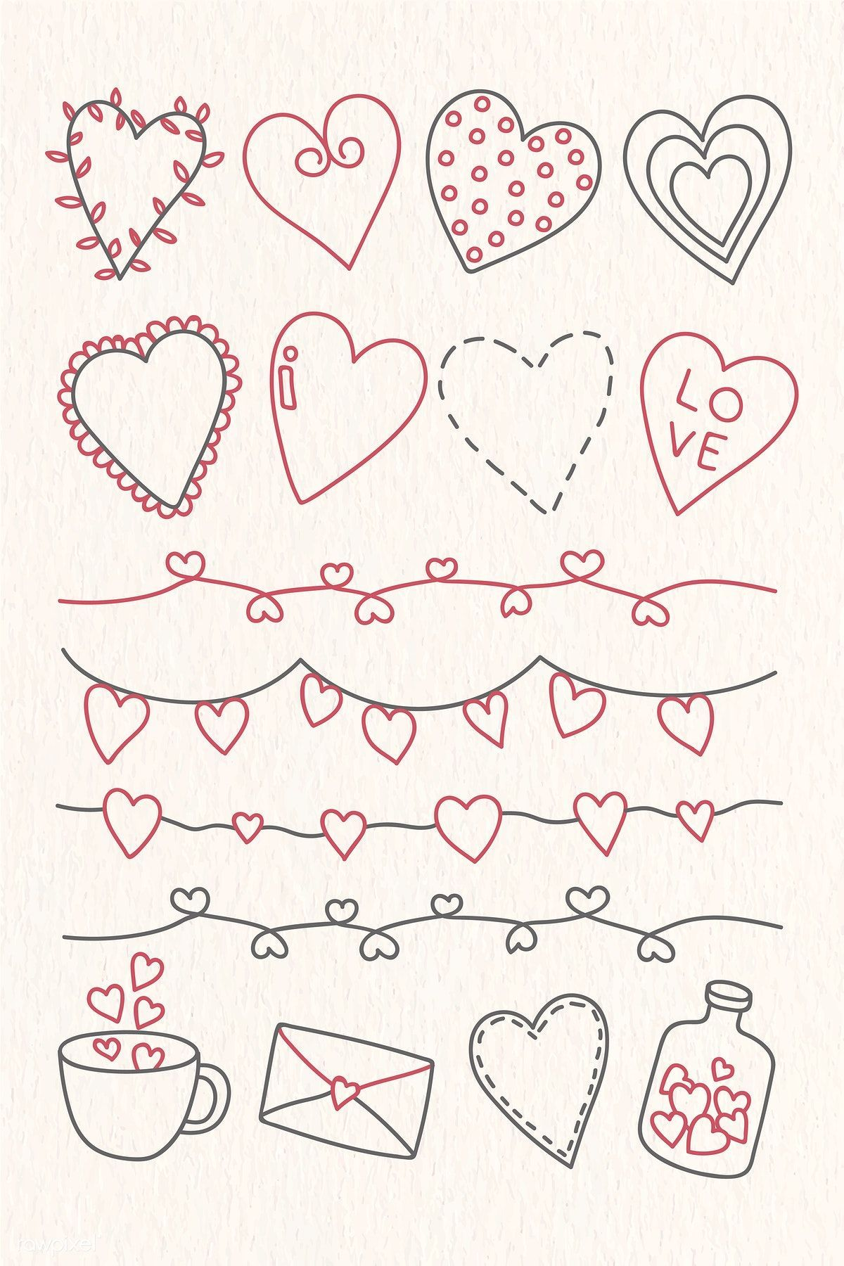 Download Premium Vector Of Hand Drawn Love And Valentine S Day Doodle Hand Drawn Love And Vale In 2020 Valentines Day Doodles Valentine Drawing Valentines Day Drawing