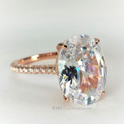 Alexandra Larosa 5ct Oval Petite French Pava C Crown Rose Gold Iobi Cultured Diam Simulated Diamond Rings Engagement Simulated Diamond Rings Diamond Centerpiece