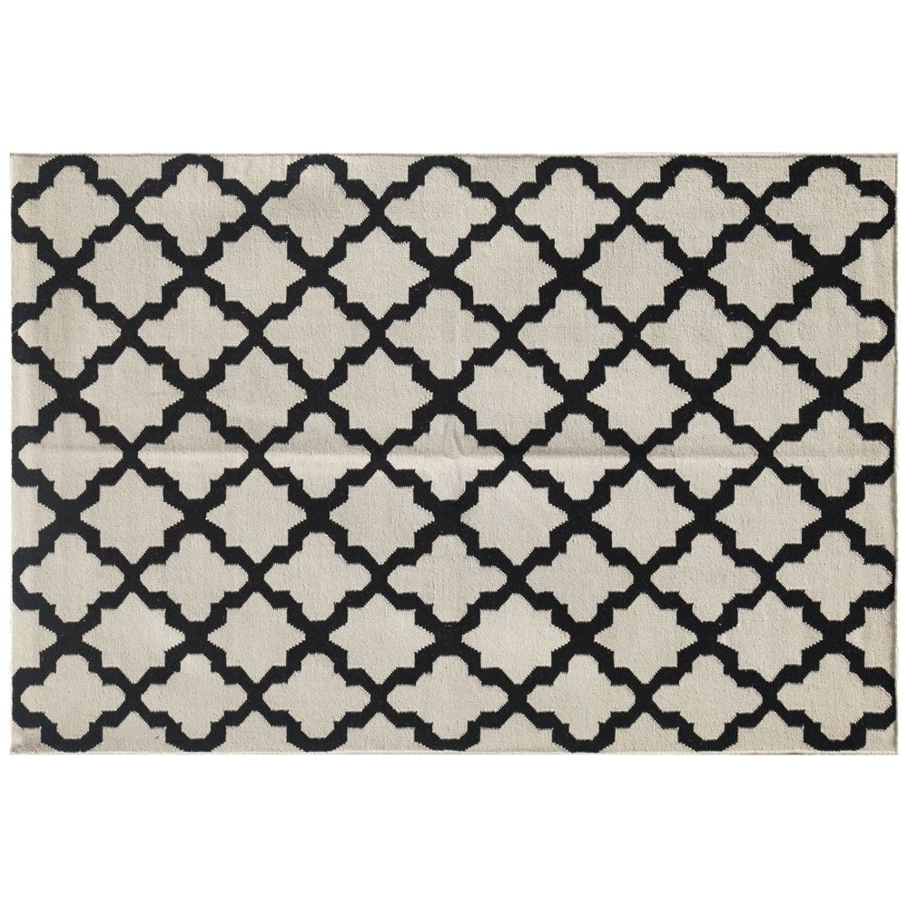 100% Wool Flatweave, Warsop Rug, Antique White/Ebony made by Handwoven Flatweaves .