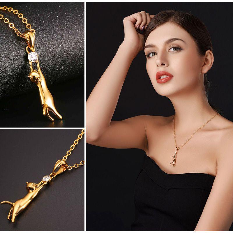 Cute cat necklace pendant silvergold color rhinestone