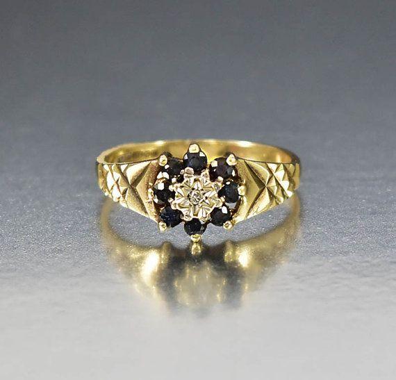 Saphir Ring Diamant Verlobungsring Gold Saphir von boylerpf auf Etsy