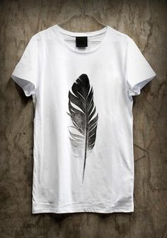 White tee feather  0c11d0f18c8