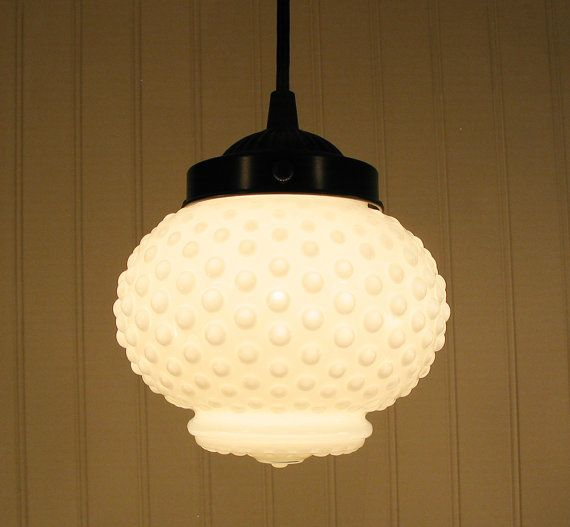 Vintage Milkglass Hobnail Globe Pendant Light Cute Would Love This Cute Little Light In The Powder Room Milk Glass Milk Glass Lamp White Milk Glass