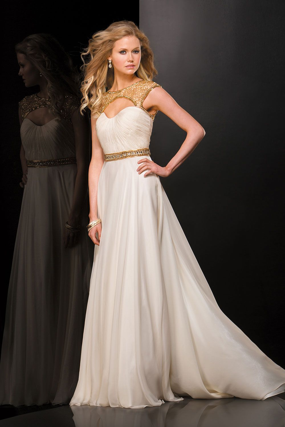 prettiest vintageinspired prom dresses shoulder gold and ivory
