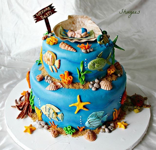 "sea life baby shower cakes  under the sea"" baby shower cake idea, Baby shower invitation"