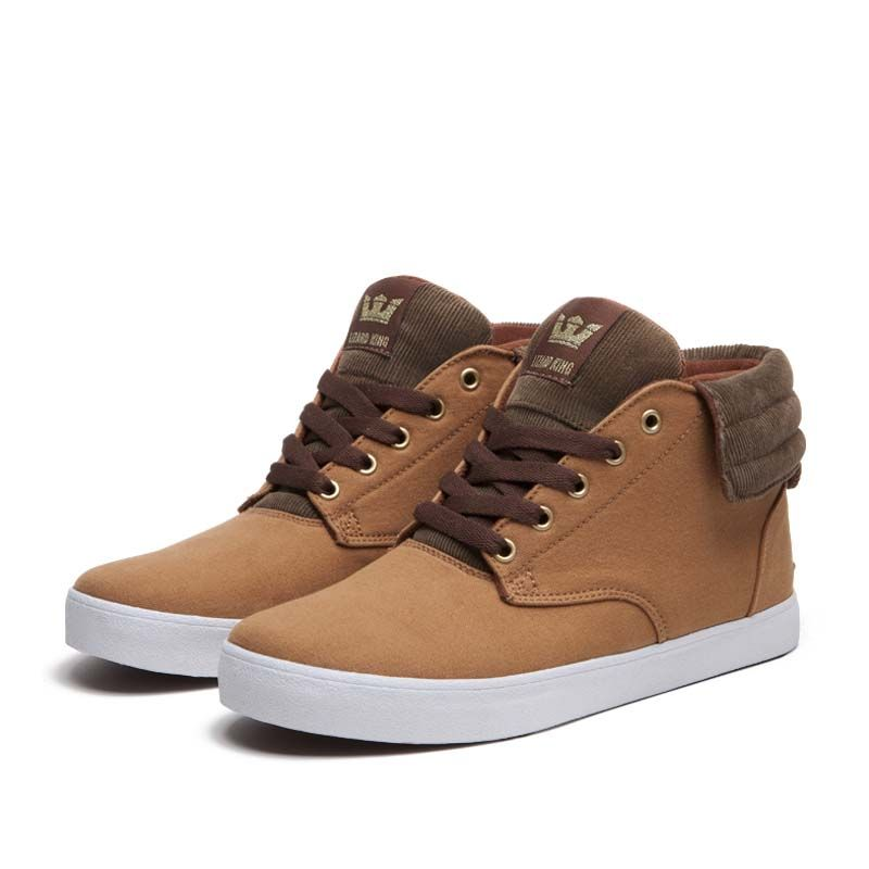 "Supra ""Passion"" high tops that feature a vulcanized sole and desert boot design."