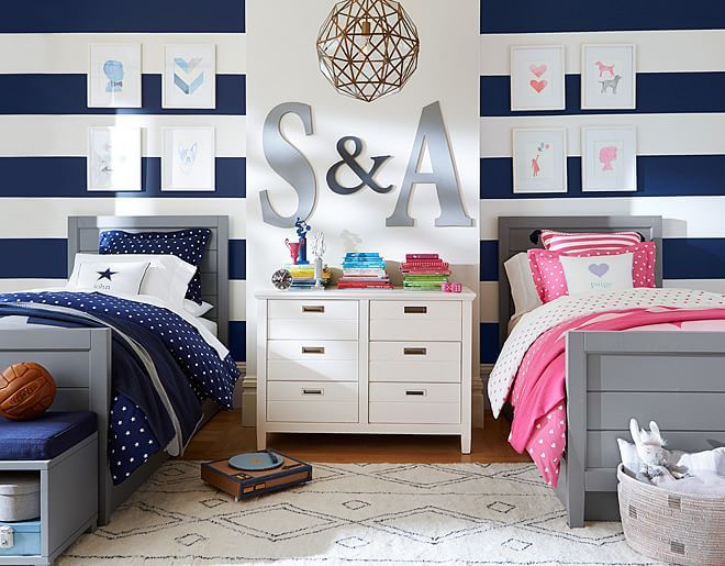 I Love The Pottery Barn Kids Hearts And Stars Shared Spaces On Potterybarnkids Com Boy Girl Twins Boy Girl Boy And Girl Shared Room