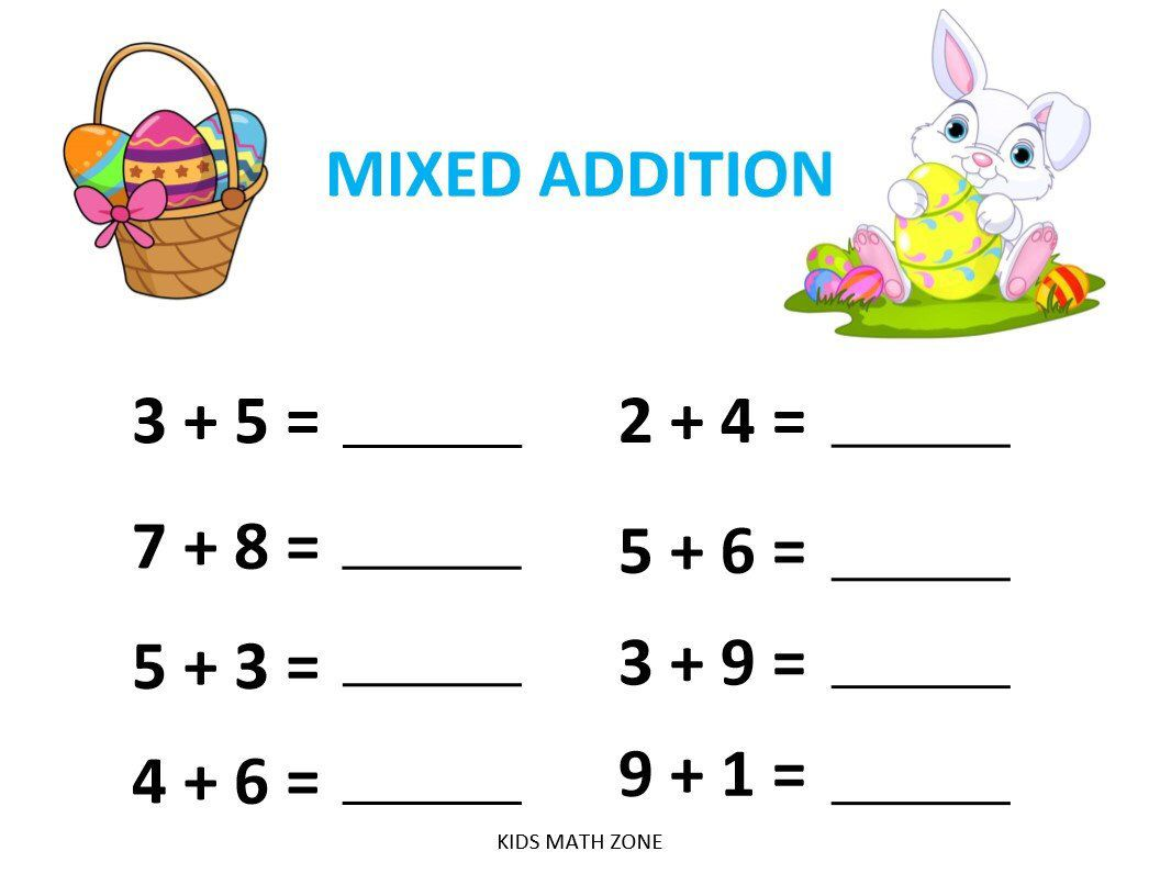 Excited to share this item from my #etsy shop: EASTER ADDITION C (10  Worksheets) …   Kindergarten addition worksheets [ 816 x 1056 Pixel ]