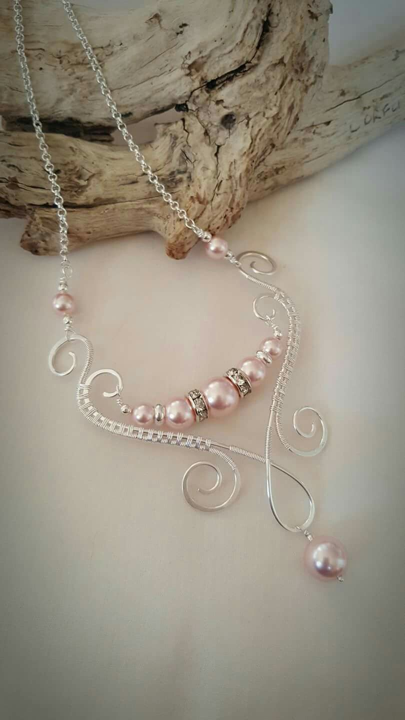 Wire wrapped pearl glass beads | Necklace 2 | Pinterest | Wire ...