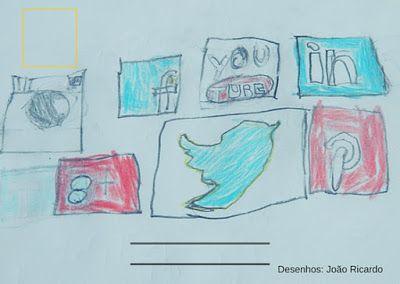 Child hand drawn social media icons.   Ícones desenhados à mão  Desenho de criança, ícones rede social  O melhor da vida é analógico