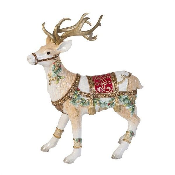 Fitz and Floyd Yuletide Holiday Deer Figurine ($79) ❤ liked on