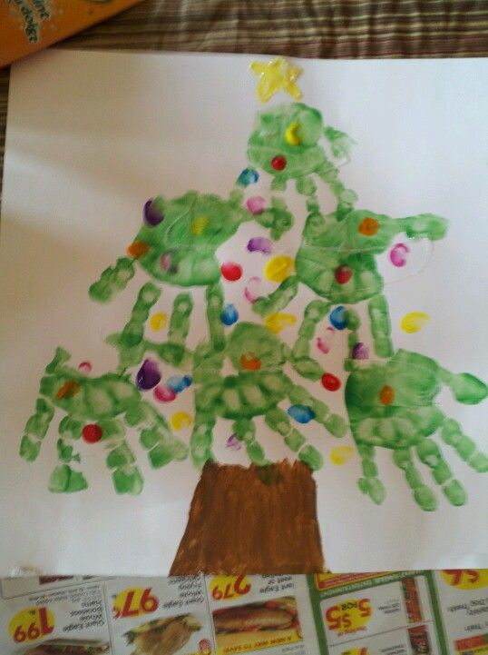 Christmas Craft Ideas For 3 Year Olds Part - 33: Made This Tree With My Three Year Old Daughter (three Bottom Hand Prints),