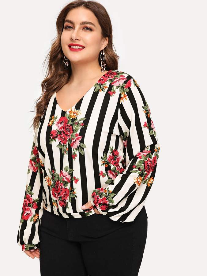 82c1cec61c Shein Plus Floral and Striped Sweatshirt | Products in 2019 ...