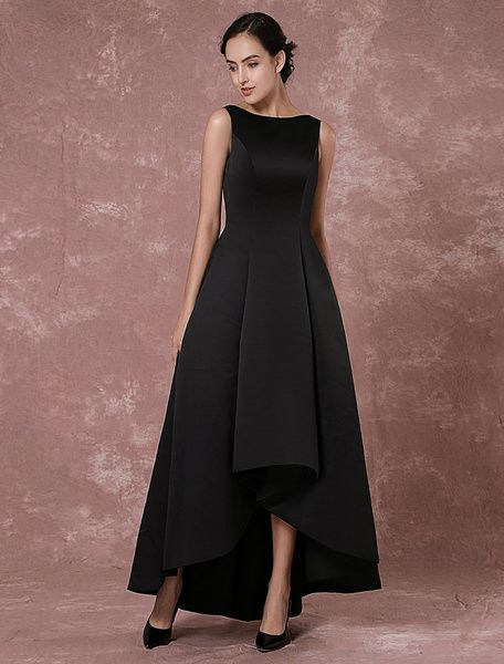 Black #Evening #Dress Taffeta High-Low Backless Prom Dress Pleated Party Dress