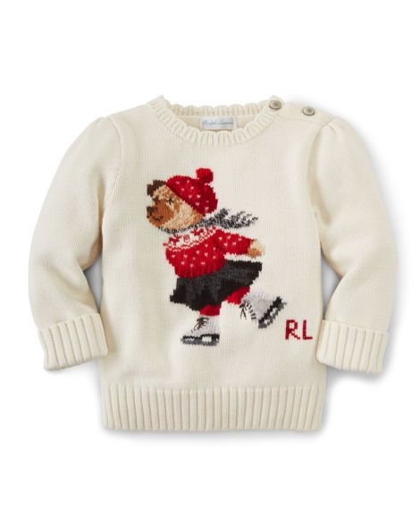 cca98474c08f Intarsia Bear Cotton Sweater - Baby Girl Sweaters - RalphLauren.com ...