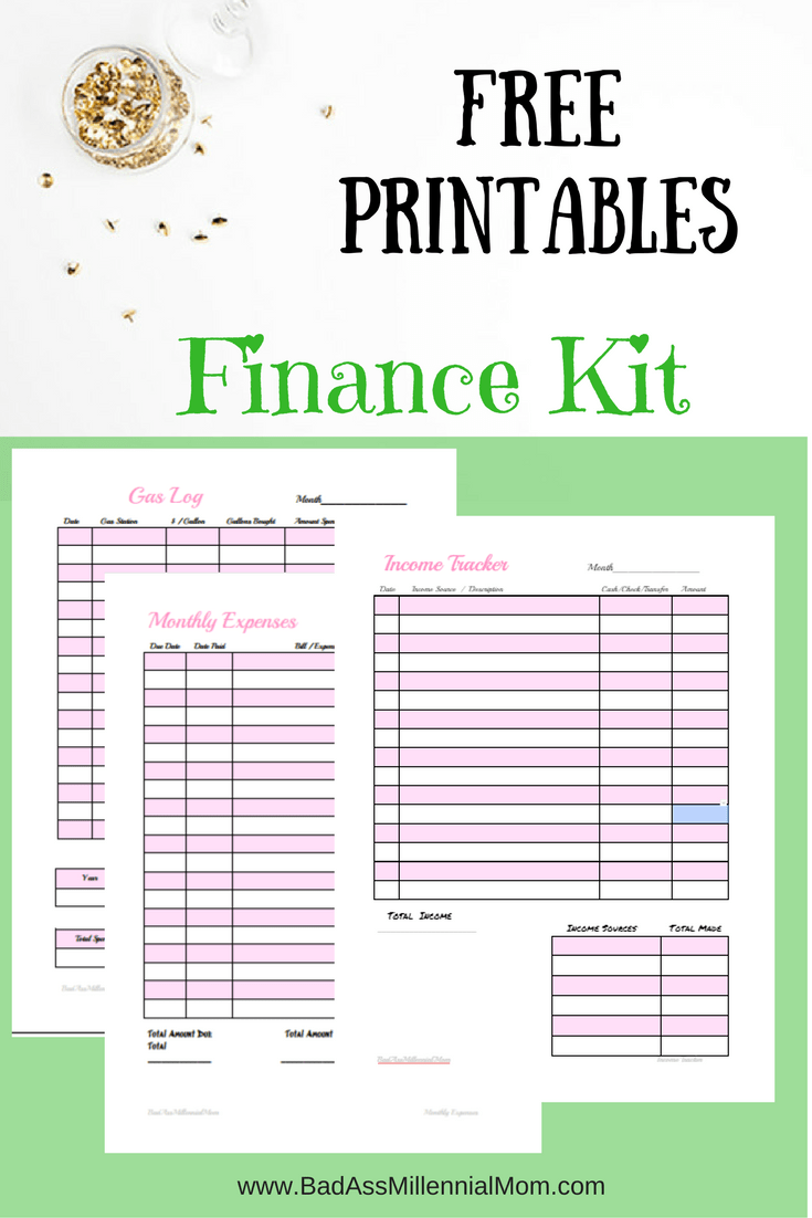 free printable finance kit monthly expenses income tracker gas