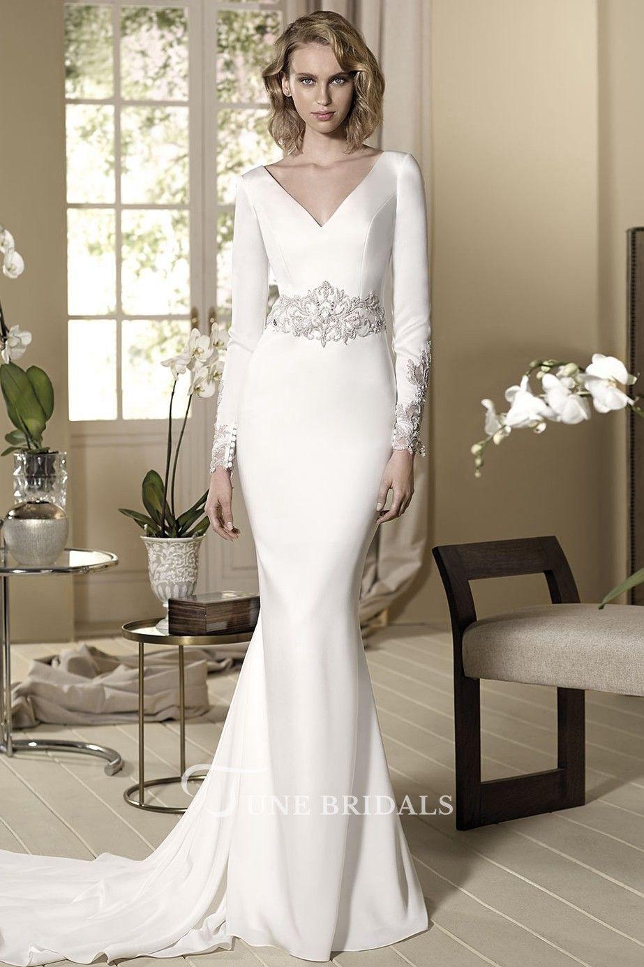 bb60372029ca Sheath Beaded Long-Sleeve Floor-Length V-Neck Jersey Wedding Dress - June  Bridals