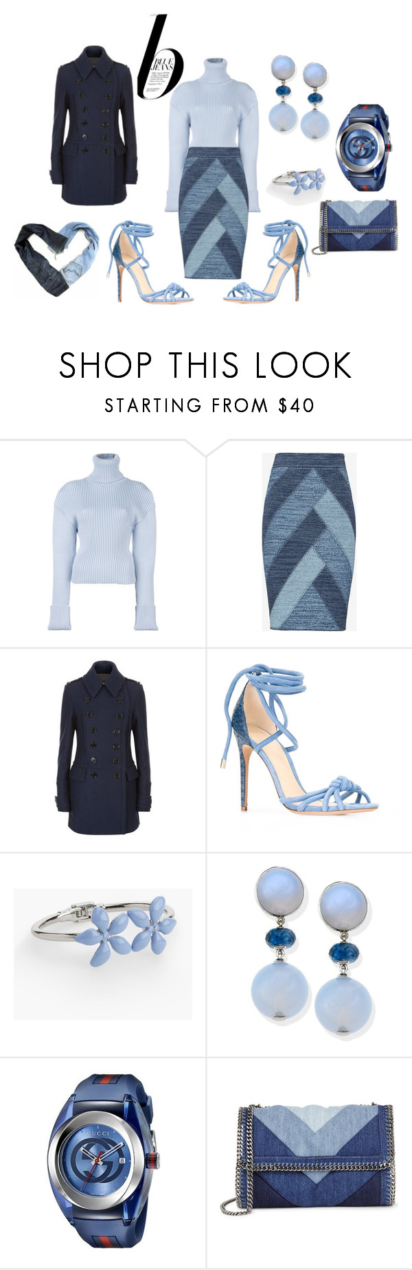 """""""jean look"""" by deirdre35 on Polyvore featuring Nico, Jacquemus, BCBGMAXAZRIA, Burberry, Alexandre Birman, Talbots, Gucci, STELLA McCARTNEY and Therapy"""