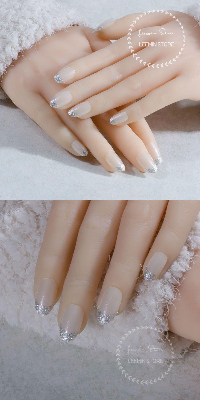 princess fake nails round french nails high quality silver powder ...