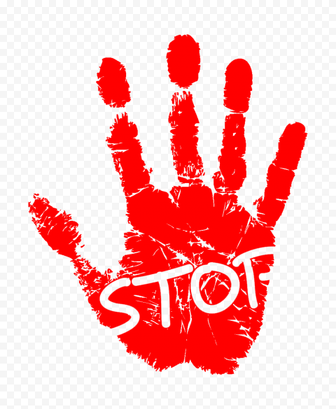 Hd Red Hand Print With Outline Stop Word Png Stop Words Print Outline