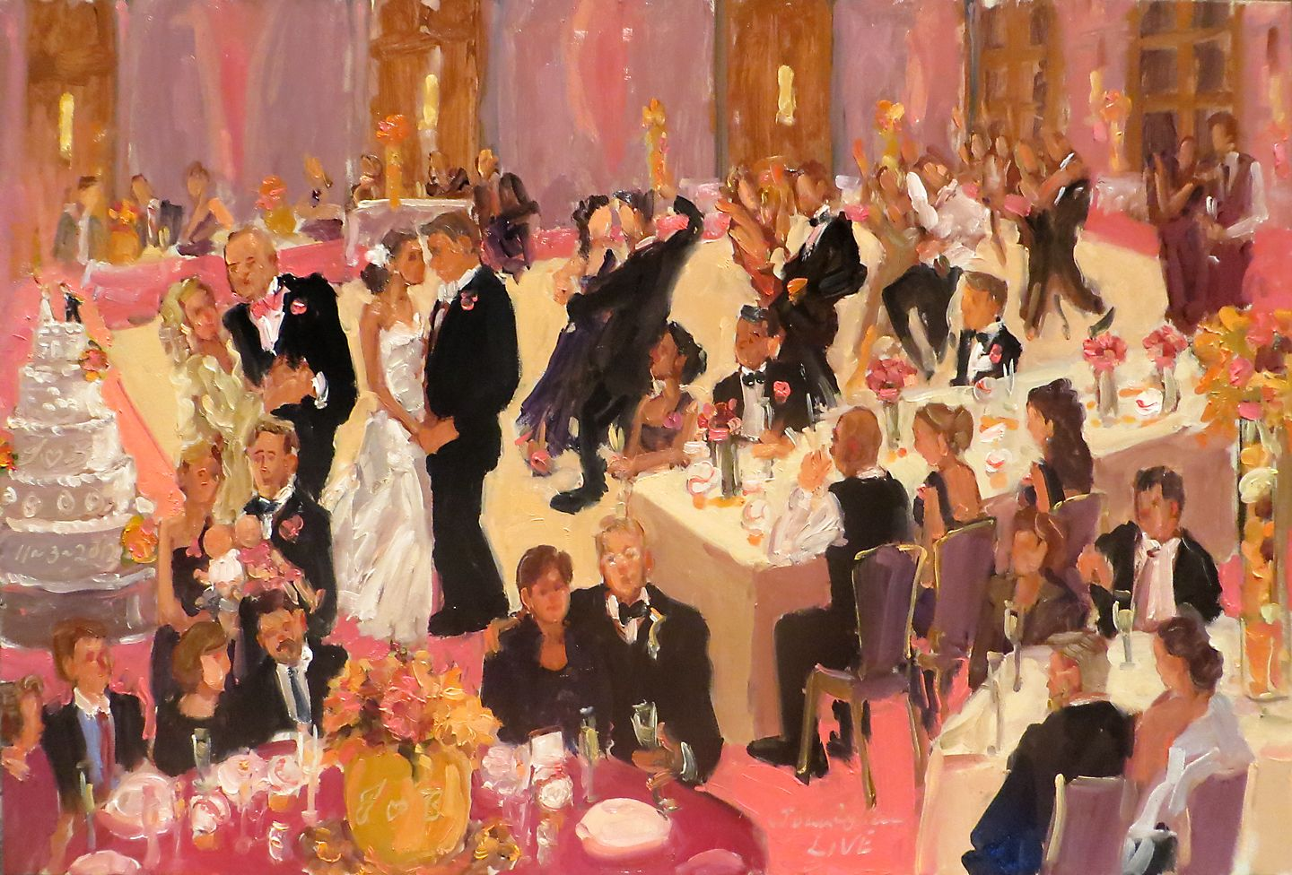 Live Event Artist Baseball Wedding Painting At Four Seasons By Joan Zylkin The Painter