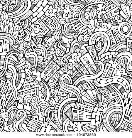 Cartoon vector doodles hand drawn town. seamless pattern - stock vector