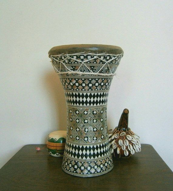 Stunning Darbuka Egyptian Drum with Mother of pearl inlaid artwork. All handmade, hours of work goes into making these.
