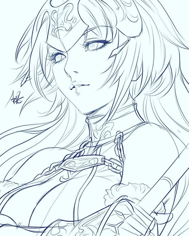 Jeanne D Arc In Class Sketch From Fate As Requested By One Of My Students Fategrandorder Jeannedarc Character Art Sketches Anime Lineart