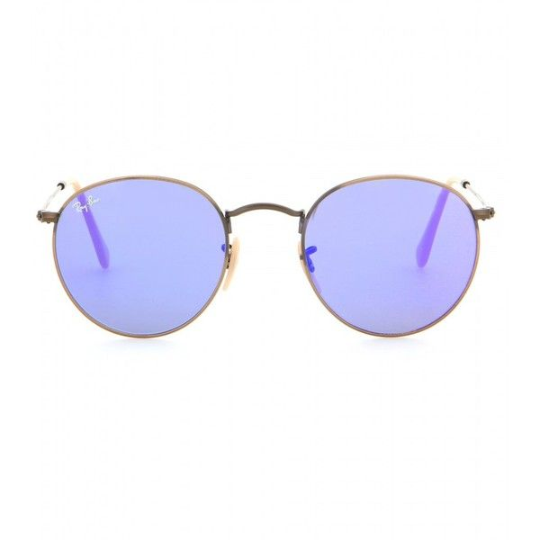 Ray-Ban RB3447 Round Sunglasses (1.675 NOK) ❤ liked on Polyvore featuring accessories, eyewear, sunglasses, glasses, blue, blue lens sunglasses, ray ban eyewear, round lens sunglasses, ray ban glasses and blue lens glasses