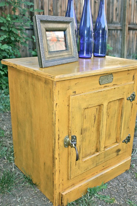 Great Beautiful White Clad Vintage Ice Box Reproduction Nightstand/end Table  Painted In Rich Harvest Gold Milk Paint