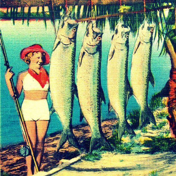 Fish Art Print, Retro Fish Art, Fish Wall Art, Mid Century Beach Art ...