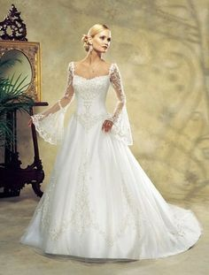 A-line, Square Neck, Chapel Train, Bell Sleeves, Tulle