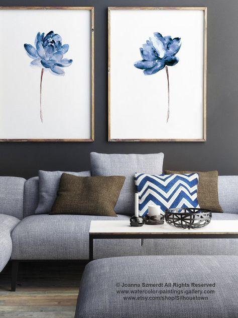 Lotus Set Für 2 Aquarell Malerei, Blaue Wasser Blumen Kunstdruck, Moderne  Florale Illustration Wall Decor, Abstrakte Blume Poster Art Von Papier