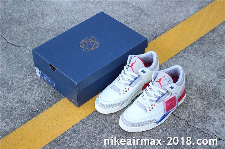 6e99c6e34ee Air Jordan 3 Retro International Flight 136064-140 Mens Sneakers White Gray  Blue Red