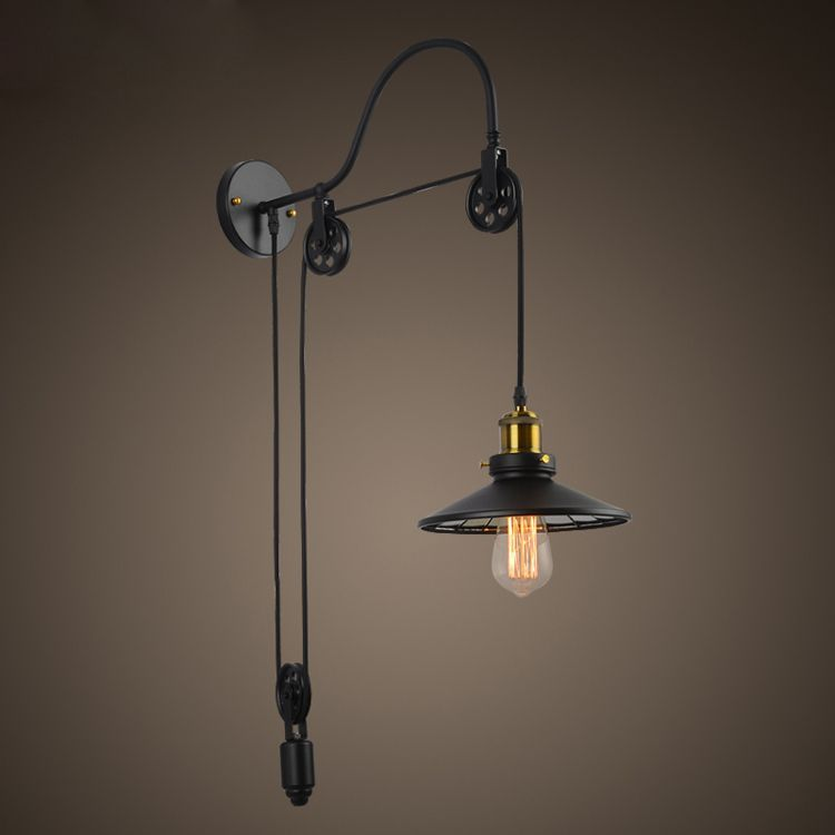 Find more wall lamps information about vintage industrial retro ameican country pulley adjustable edison wall sconce