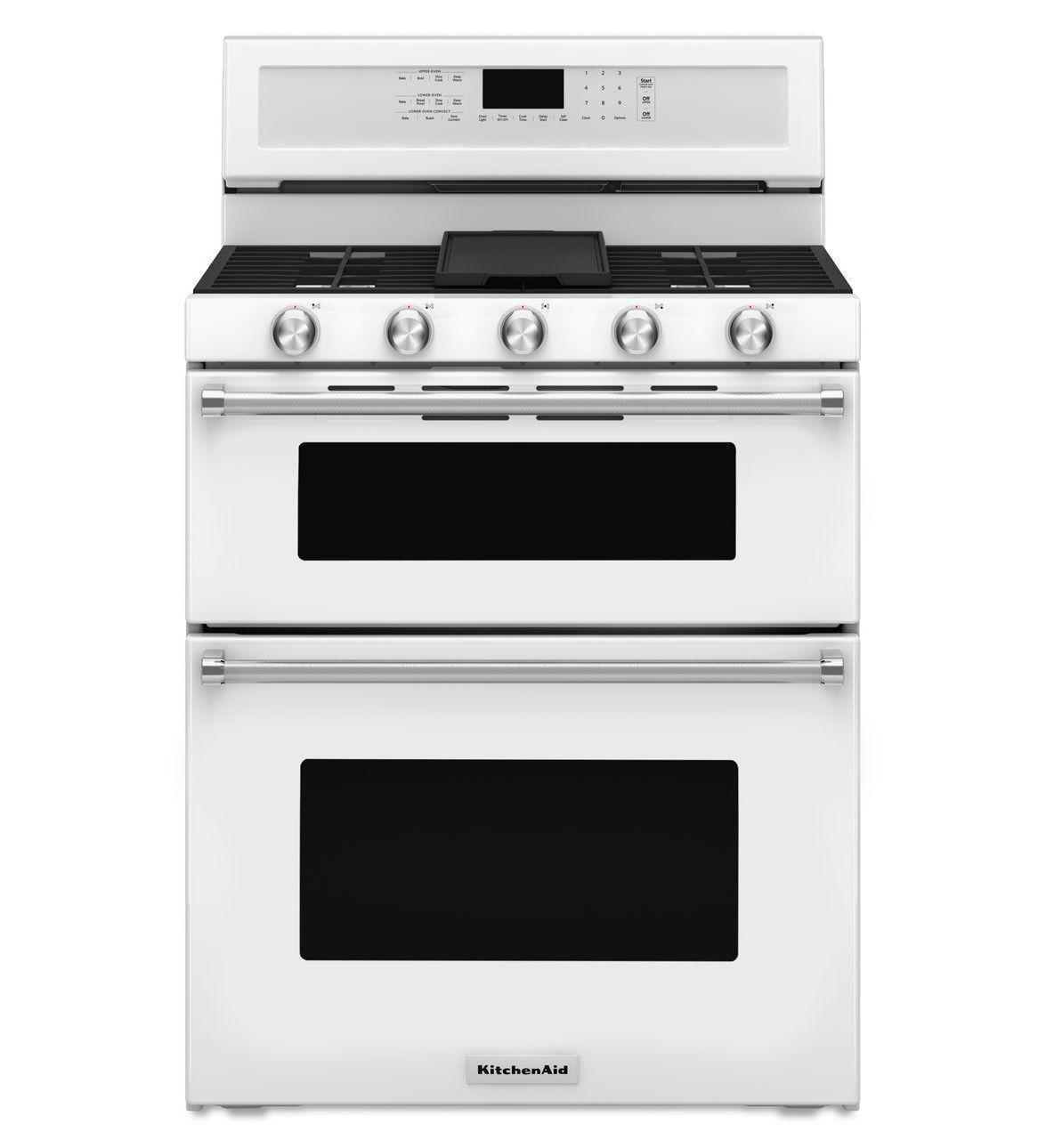 Kitchenaid Gas Double Oven Convection Range KFGD500EWH 30 Inch 5 Burner  White Gas Range