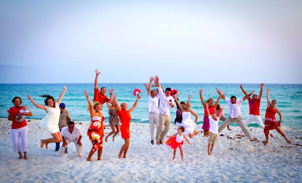 Wedding Photography Panama City Beach: Jumping Guests Beach Wedding Panama City Beach