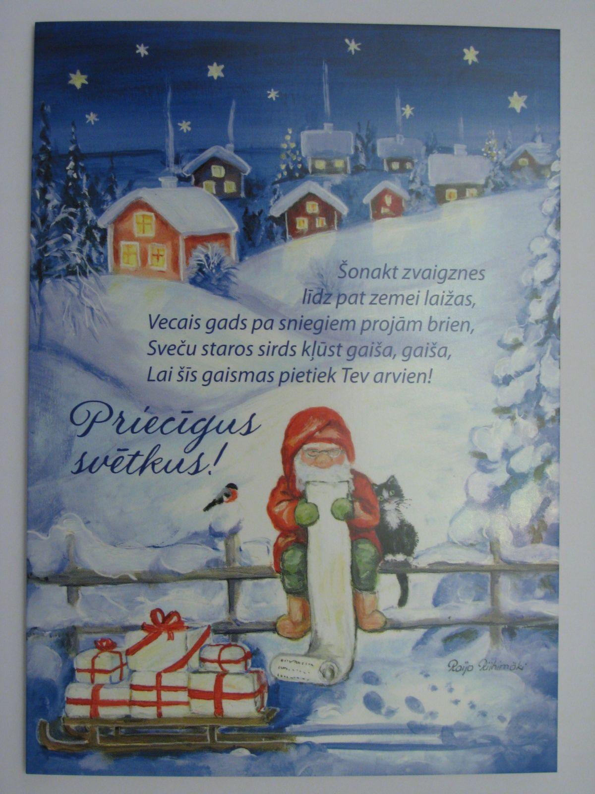 New Raija Riihimaki Christmas New Year Double Card Gnome Dwarf Cat Bird Latvia | eBay