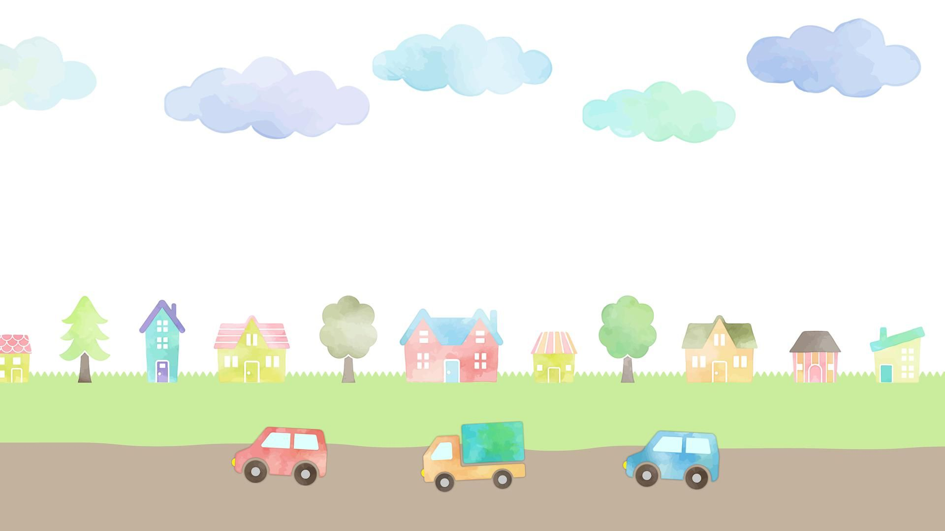 watercolor hand drawn houses and cars landscape animation