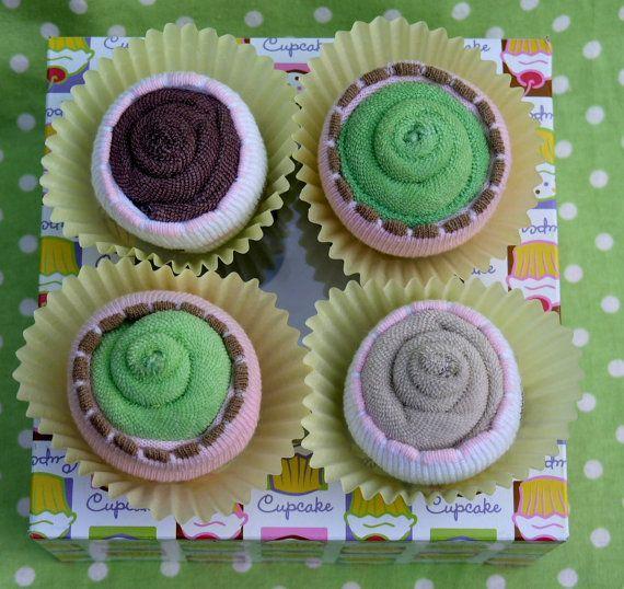 Mädchen Baby Socke & Waschlappen Cupcakes 4 Pack von babyblossomco