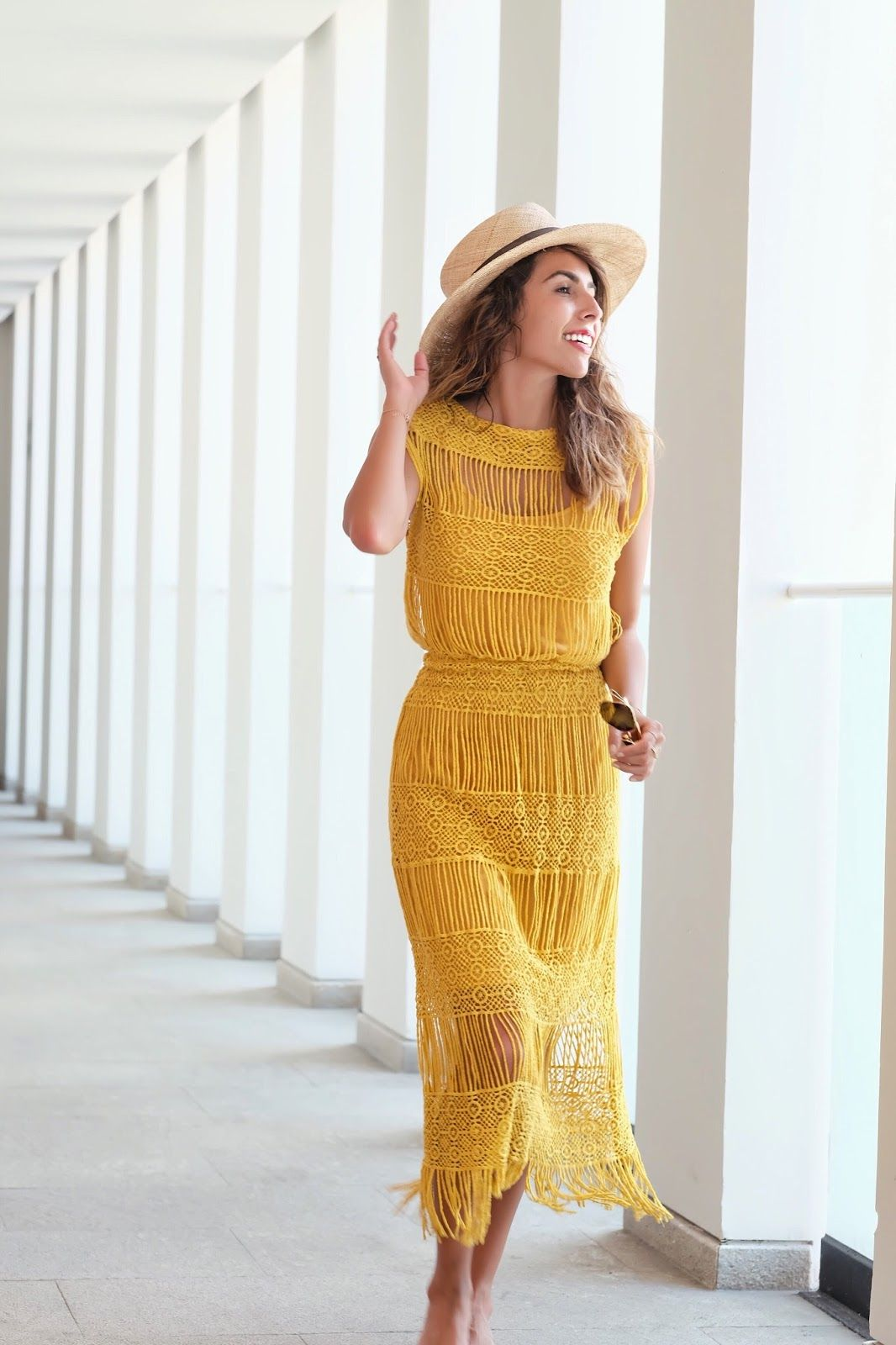 9081f83e8083 yellow crochet dress for tropical vacation!