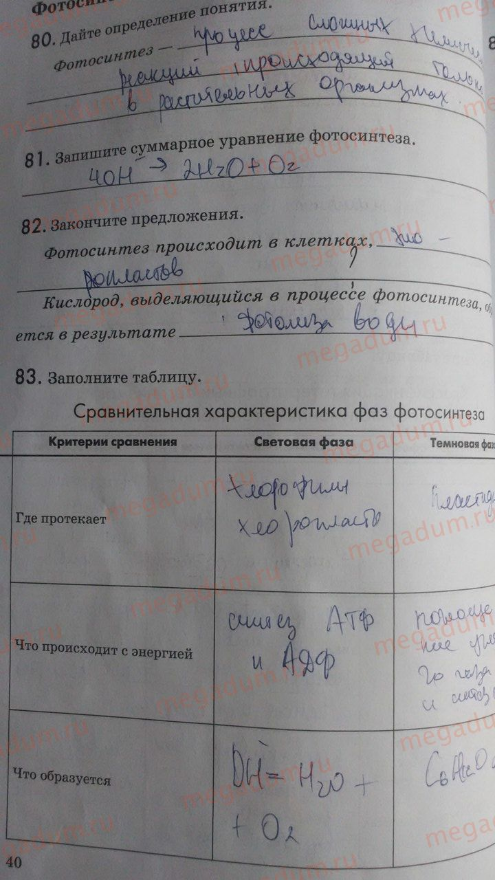 биологии класс мащенко таблица 2019 9 гдз по