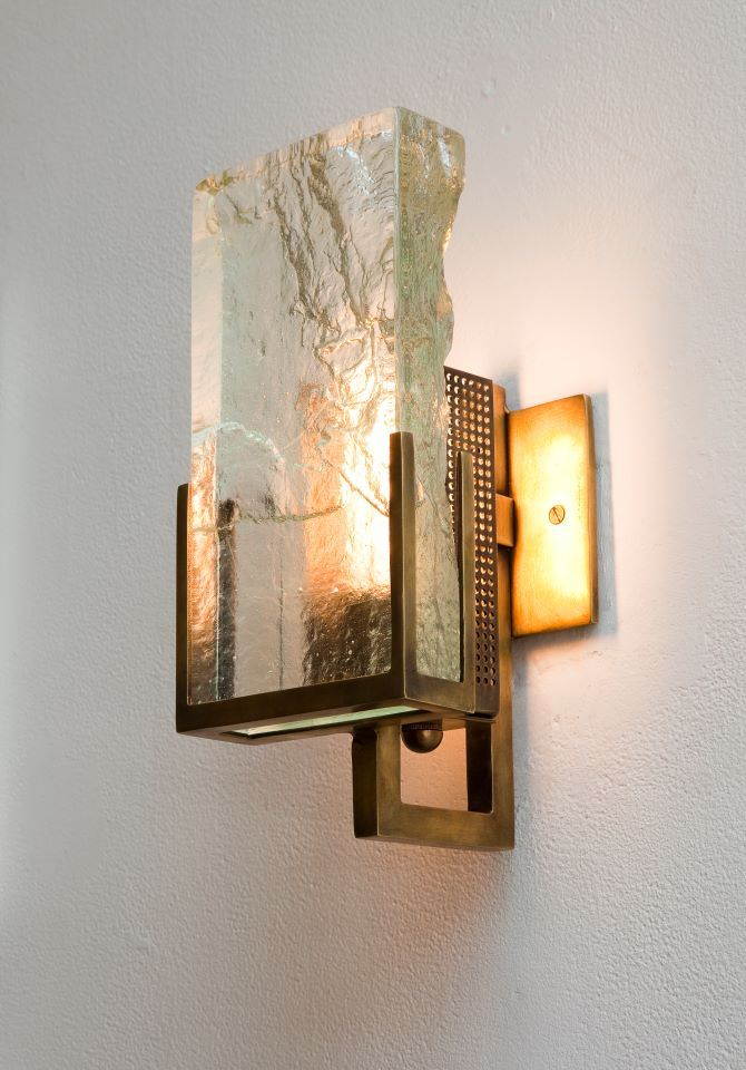 Wow Incredibly Beautiful Rubbed Bronze And Glass Sconce
