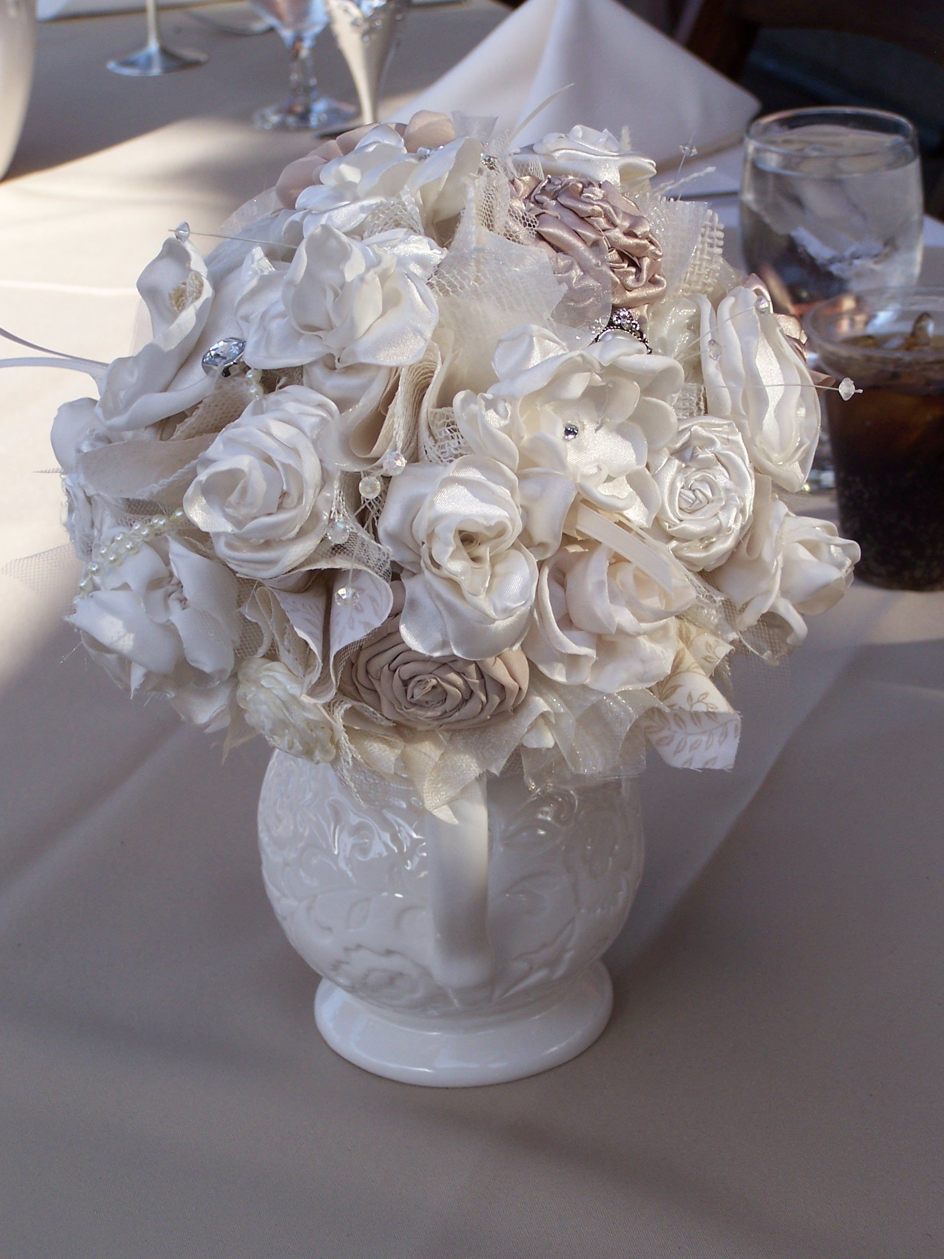 Bridesmaid bouquet made from fabric flowers aka burnt edge flowers ...