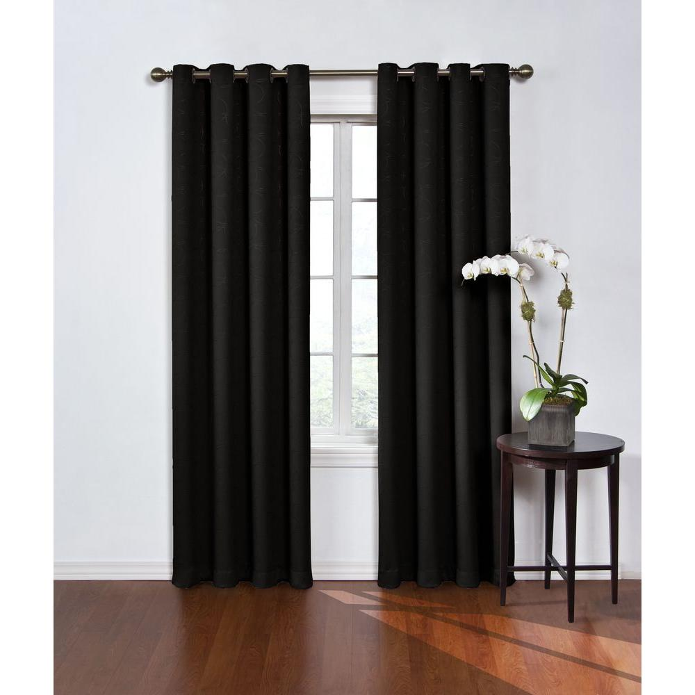 Eclipse Round And Round Blackout Window Curtain Panel In Black