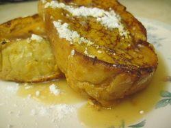 Pumpkin french toast w/ apple cider syrup. Yum!